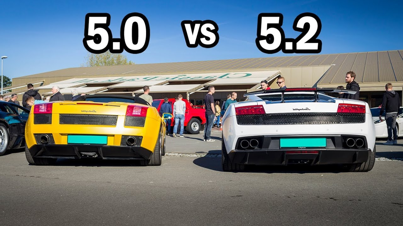 Lamborghini Gallardo 5 0 V10 Vs 5 2 V10 Sound Comparison Youtube