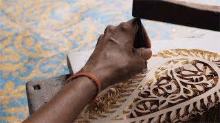 Block Printing - A craftsman is creating a beautiful design for printing block stamp