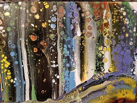 Fluid  Art  Painting  'Parallel Lines  Stuart Wimbles  Free  Your  Mind  Art