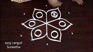 5 dots simple n easy kolam || daily routine muggulu rangoli designs by Suneetha