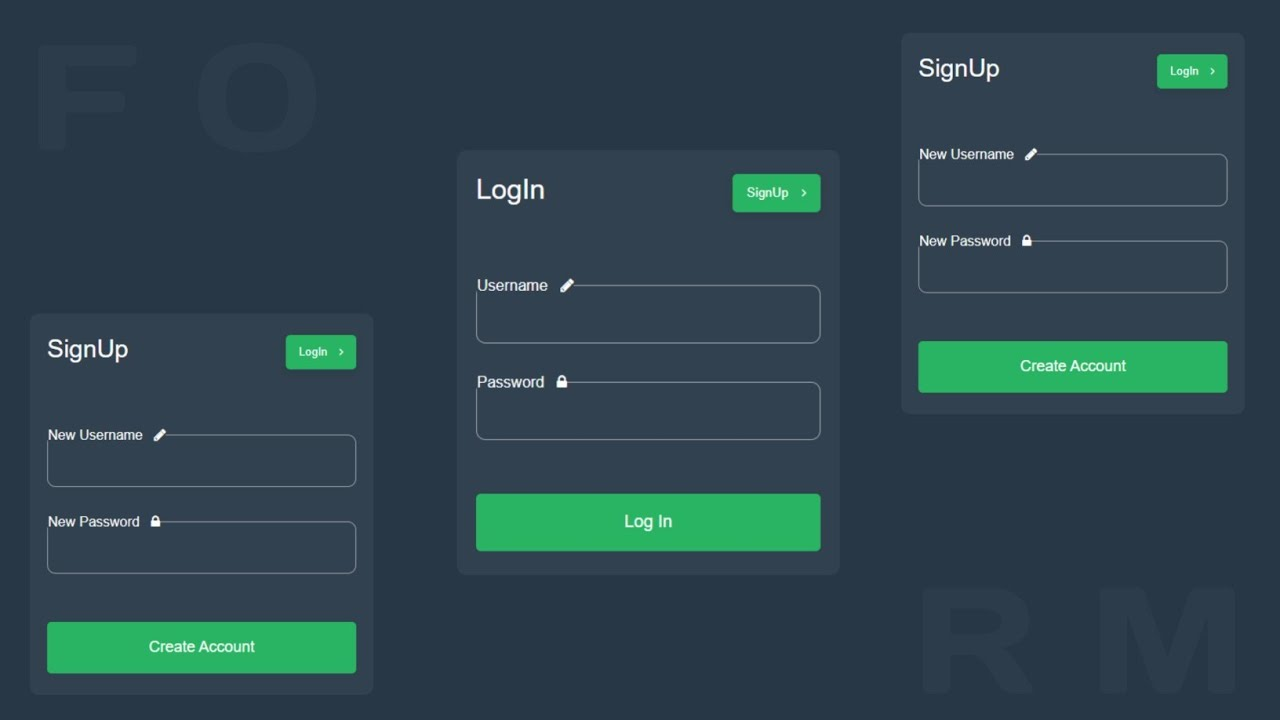 Create Working Login, Registration form using HTML,CSS,JavaScript & PHP