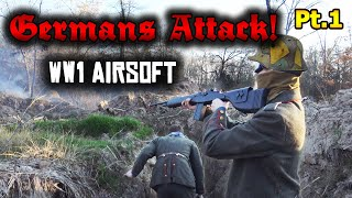 GERMANS ATTACK! WW1 Airsoft Trench Battle With FIREWORKS! Pt.1