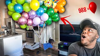 How Many Balloons Will It Take To Make A 4 Year Old Float !!