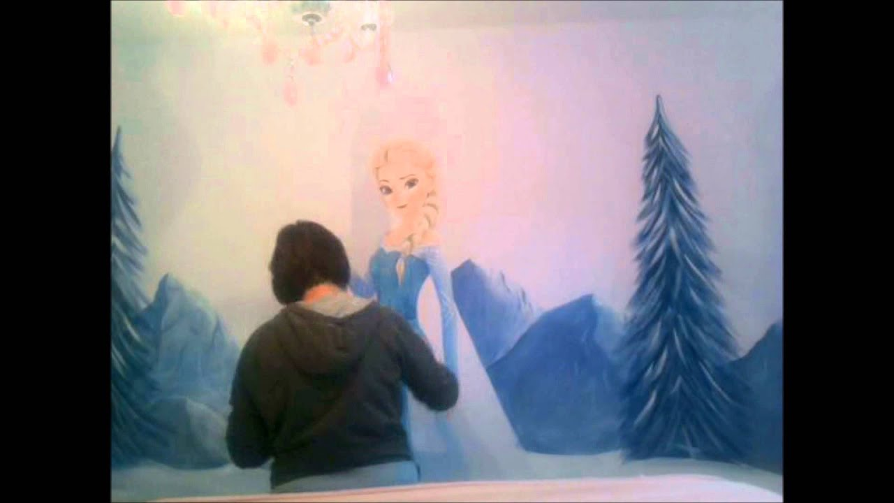 custom murals frozen elsa wall mural youtube custom murals frozen elsa wall mural