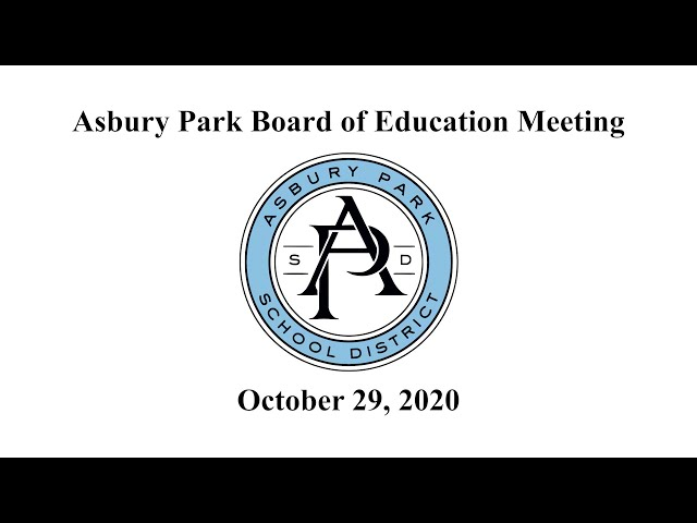 Asbury Park Board of Education Meeting - October 29, 2020