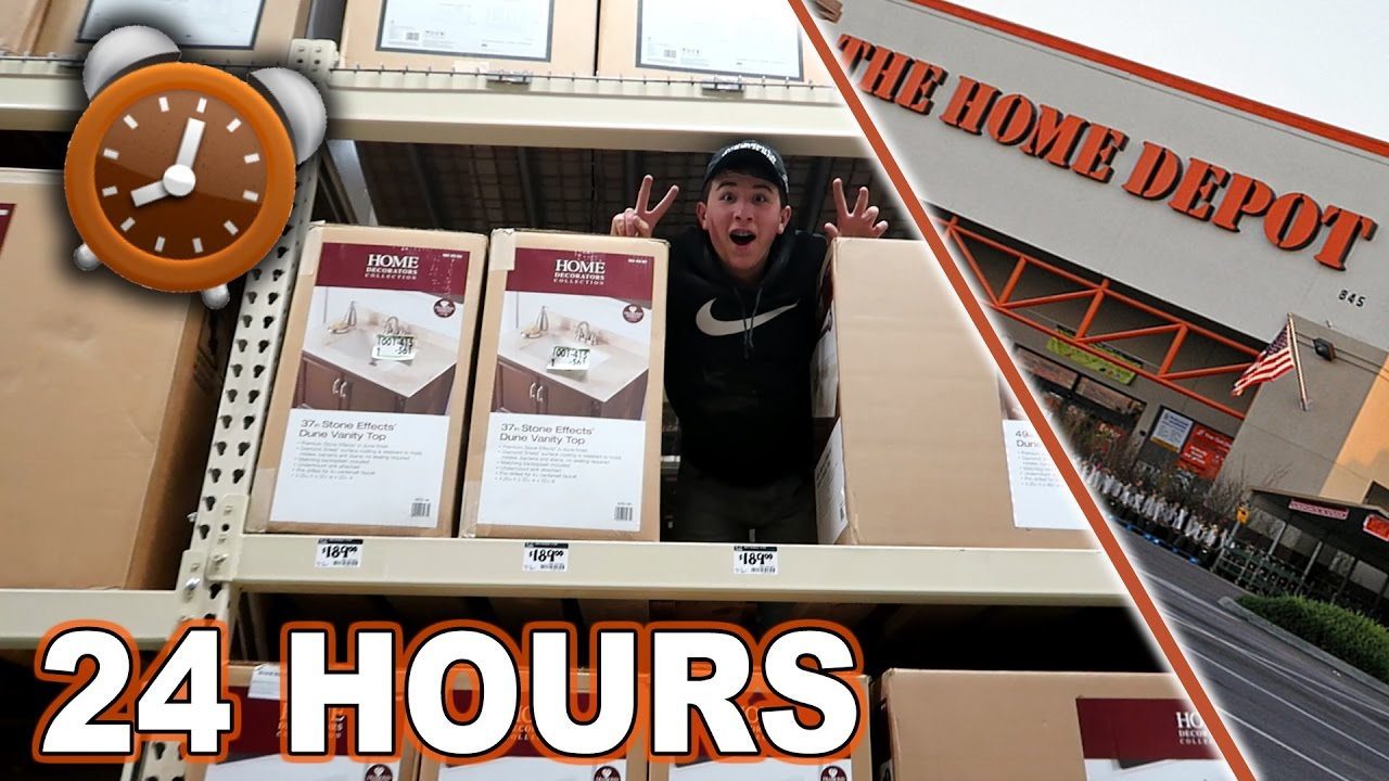 TRIPPLE DECKER 24 HOUR FORT CHALLENGE AT HOME DEPOT ALMOST