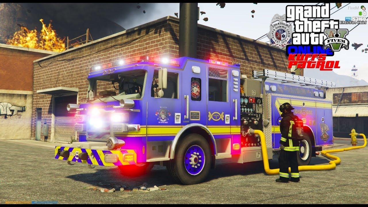 GTA 5 Mod KUFFS FiveM Roleplay #343 Fire Department Responding To