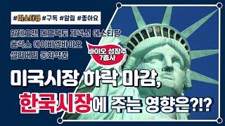 [오랜만에 돌아왔다!!] 미국시장 하락마감, 국내 증시…