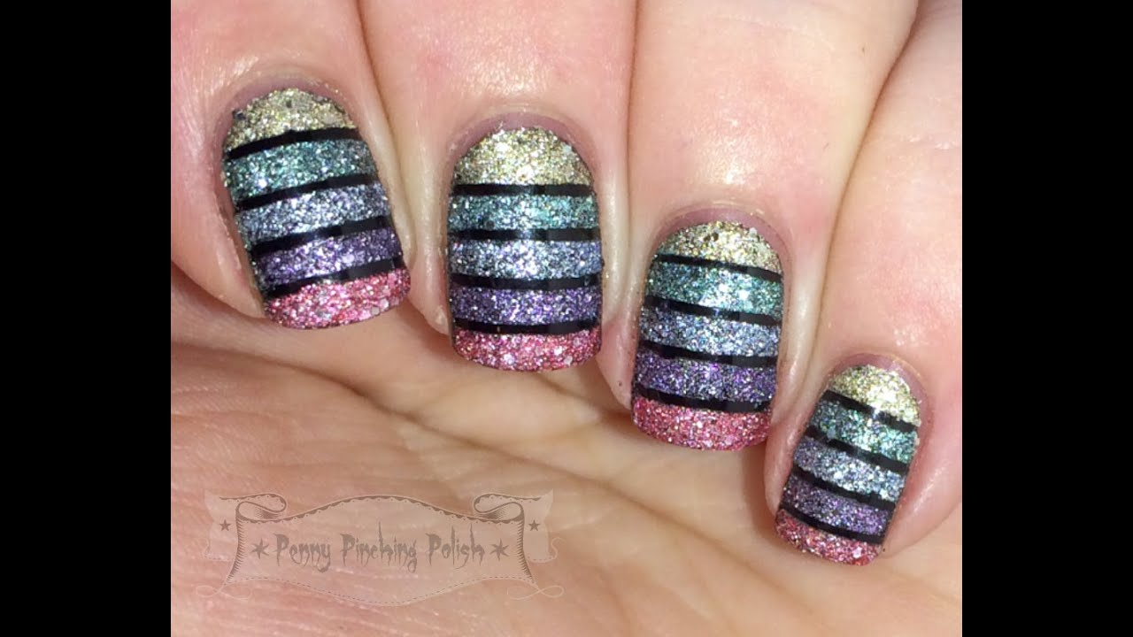 Textured Glitter Striped Tape Nail Art Tutorial - YouTube