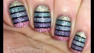 Textured Glitter Striped Tape Nail Art Tutorial