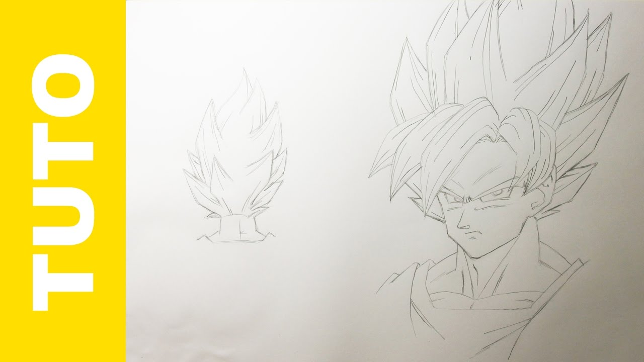 Comment dessiner goku super saiyan dragon ball z tutoriel - Comment dessiner goku ...