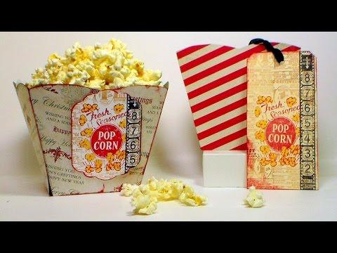 Paper Popcorn Box Tutorial (and gift idea!) - YouTube
