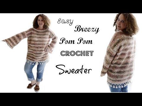 Easy Breazy Pom pom Crochet  sweater