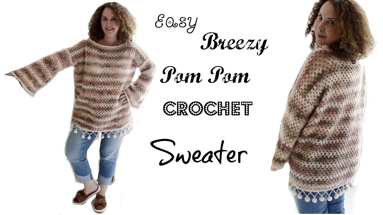 Easy Breazy Pom pom Crochet sweater - YouTube