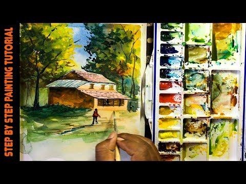 Forest House Painting | Nepali Village Landscape Watercolor Painting | Nepali artist watercolor
