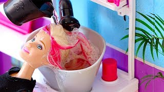 Barbie Doll Hair Style Salon! Pretend Play with Hair Cut Shop Toys! 🎀 thumbnail