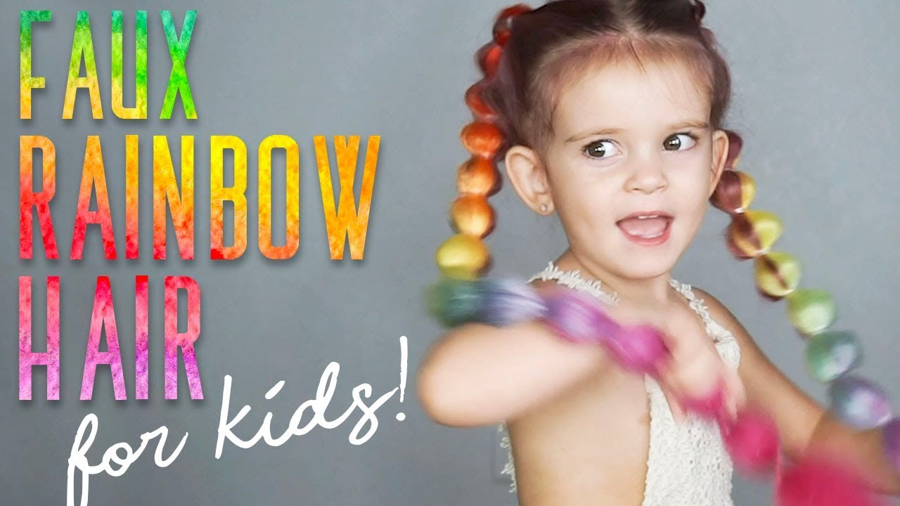 faux rainbow hair | create easy crazy long colorful braids!