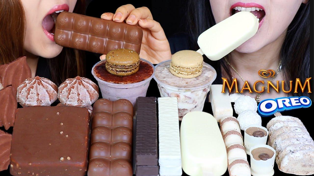 ASMR MILK VS WHITE CHOCOLATE MAGNUM ICE CREAM, AERO BUBBLY CHOCOLATE, KLONDIKE BAR, MACARON, OREO 먹방