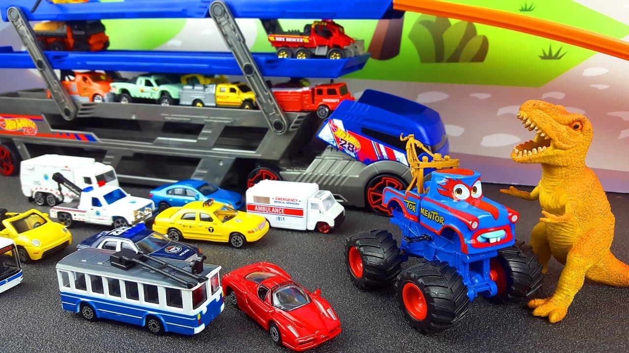 Download Juguetes: ambulancia, camión de la basura, coches, taxis, camión de remolque. videos para niños