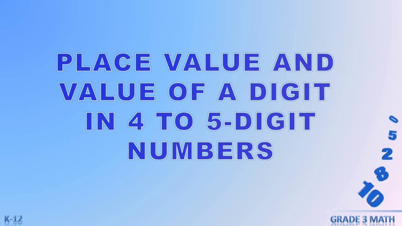Grade 3 Place Value And Value Of A Digit In 4 To 5 Digit