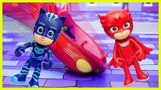Герои в масках Игрушки. Злодей Ромео украл бензин. Гекко спасает Совиный Планер. Видео для детей