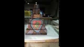 Rocket Skull Pottery - Luchador Ziggurat, clay sculpture, greenware