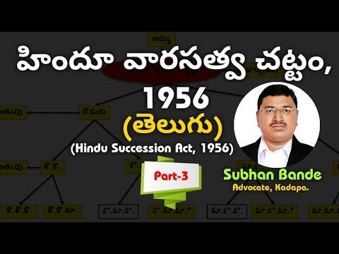 'హిందూ వారసత్వ చట్టం (Hindu Succession Act) 1956 in Telugu: Part_3' by Adv. Subhan Bande, Kadapa