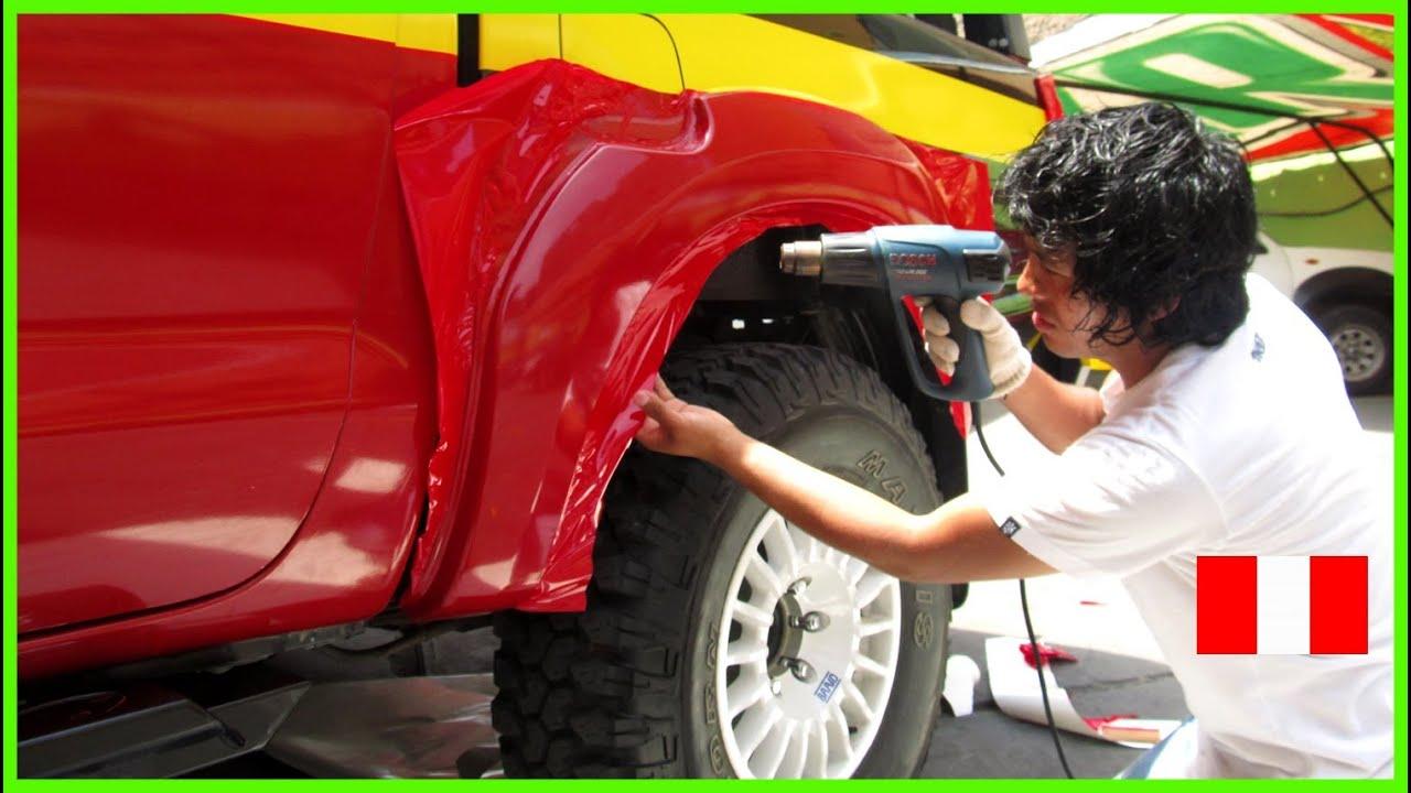 Car Wrap Vinyl >> ROTULACION-PLOTEO VEHICULAR-RALLY DAKAR 2013 LIMA PERÚ | Car Wrap - applying vinyl vehicle - YouTube