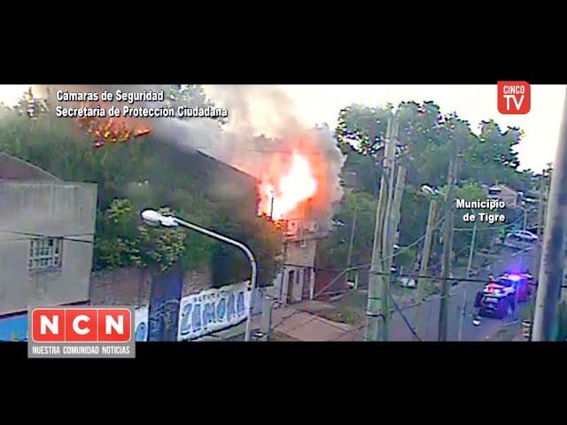 CINCO TV - El Sistema de Protección Ciudadana controló un peligroso incendio en Don Torcuato