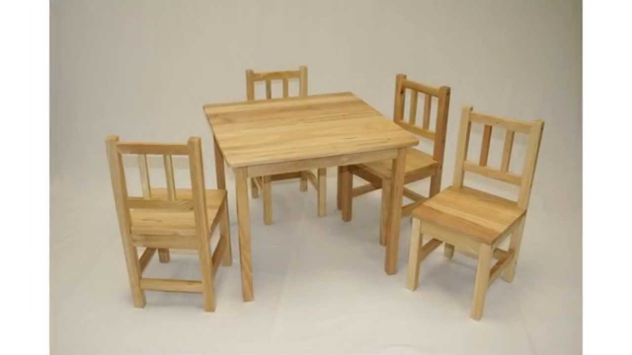 ehemco kids table and 4 chairs set solid hard wood in natual - youtube