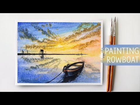 Easy Watercolor Painting / Rowboat Painting / Boat on a Lake / #55