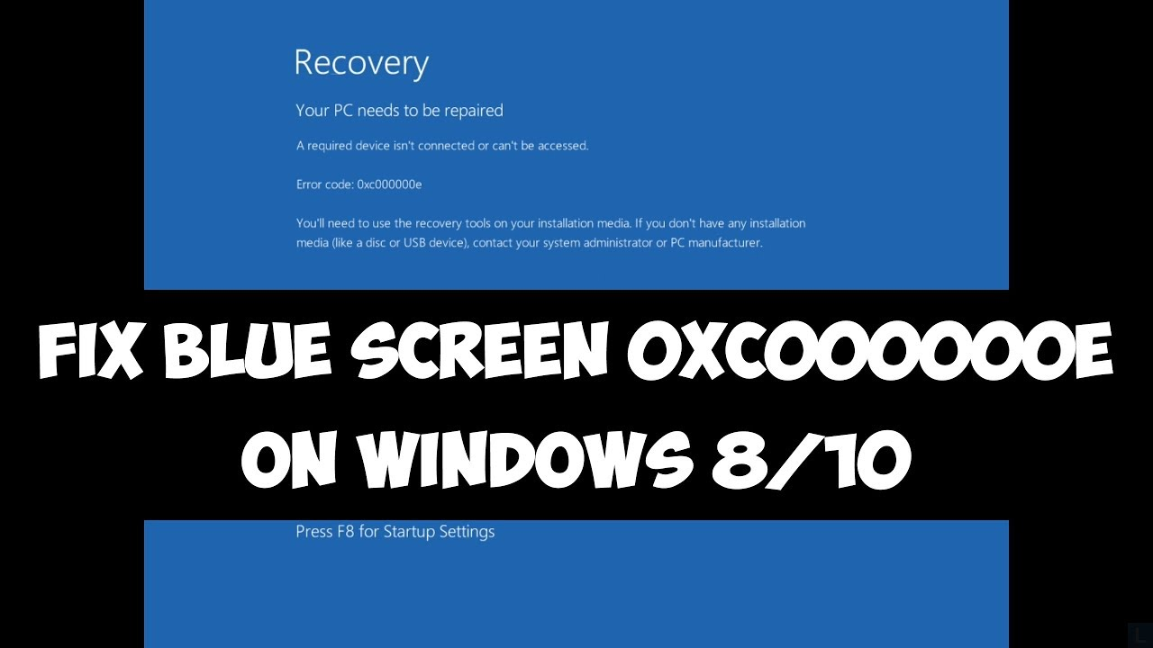 Fix Blue Screen 0xc000000e On Windows 8 10 Youtube