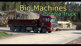 Scania truck vs Volvo 210B Excavator Big Machines at work