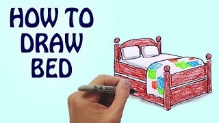 How To Draw Bed For Kids Step By Step | Drawing Lessons For Kids