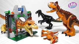LEGO JURASSIC WORLD DINOSAUR ZOO! FALLEN KINGDOM LEGO DINOSAUR TOYS! T-REX, INDORAPTOR, CARNOTAURUS