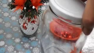 Новогодние композиции для кухни в стеклянных банках.
