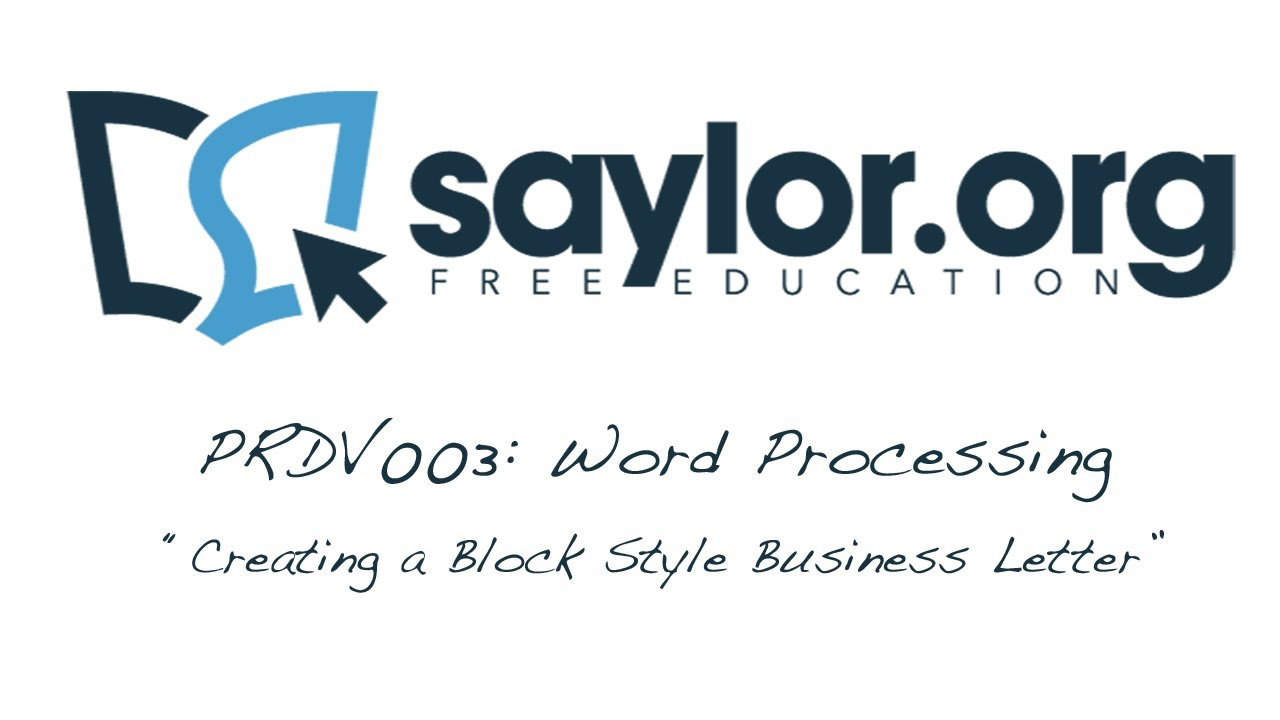 Creating A Block Style Business Letter: Word Processing   Professional  Development 003