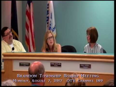 8 7 2017 Brandon Township Board Meeting