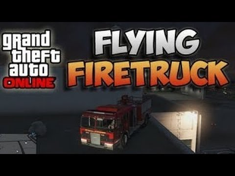 GTA 5 Online Flying Firetruck Glitch - GTA V Car Slingshot Glitch - Flying Fire Truck Tutorial