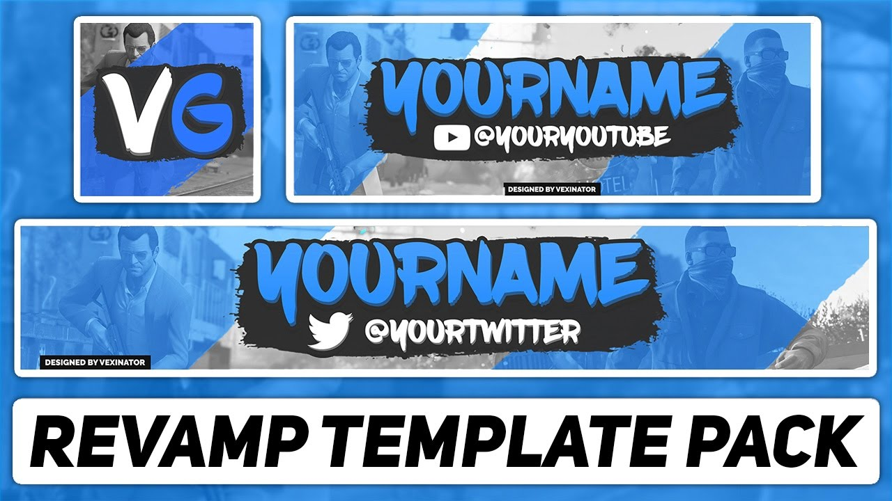 free photoshop template gaming revamp pack youtube banner