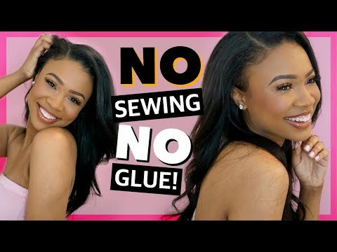 HOW TO: EASY NATURAL QUICK WEAVE TRICK! NO SEWING, NO GLUE, NO CLOSURE!! WestKiss Hair