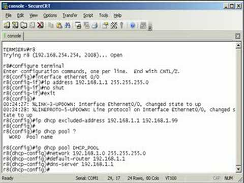 Configuring a dhcp server on a cisco router youtube for Cisco show pool dhcp