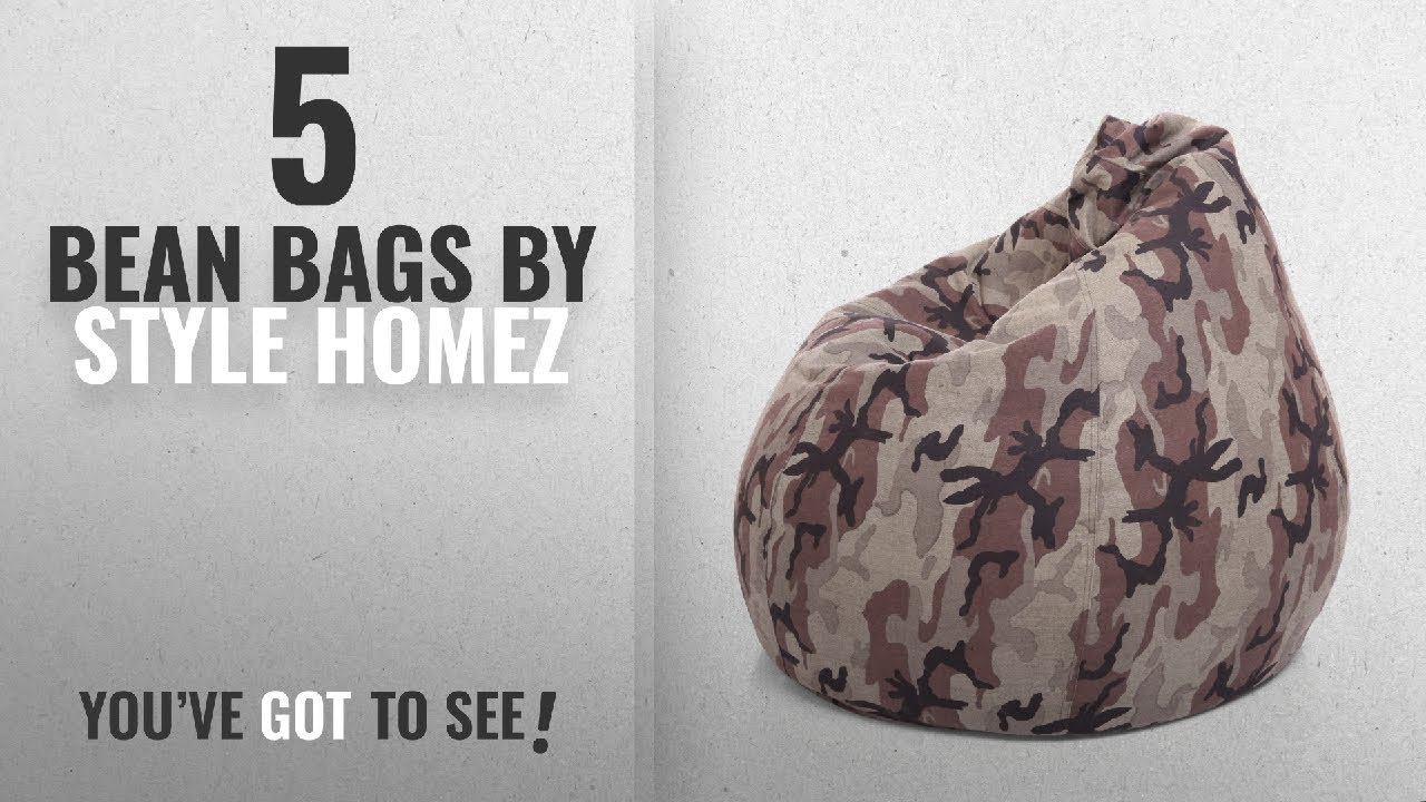 Top 10 Style Homez Bean Bags [2018]: Style Homez Classic Cotton Canvas  Camouflage Printed Bean Bag
