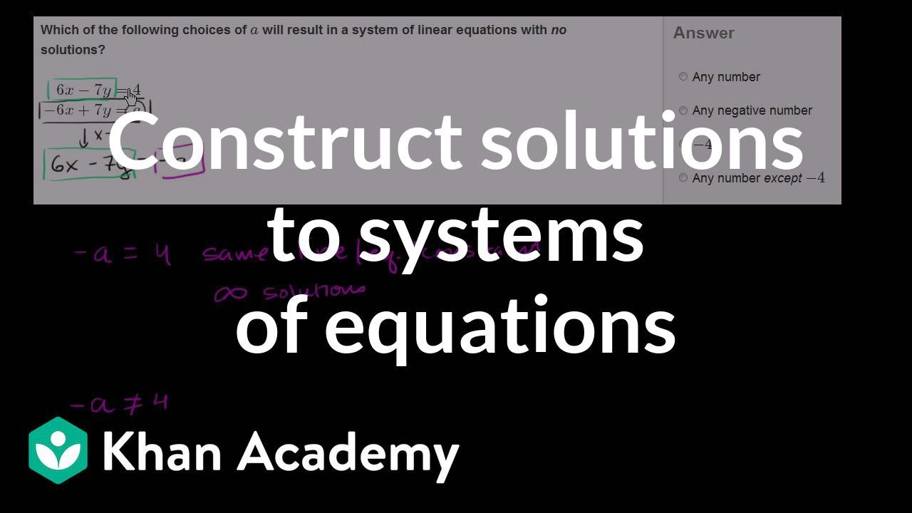 Constructing solutions to systems of equations | Systems of equations | 8th grade | Khan Academy