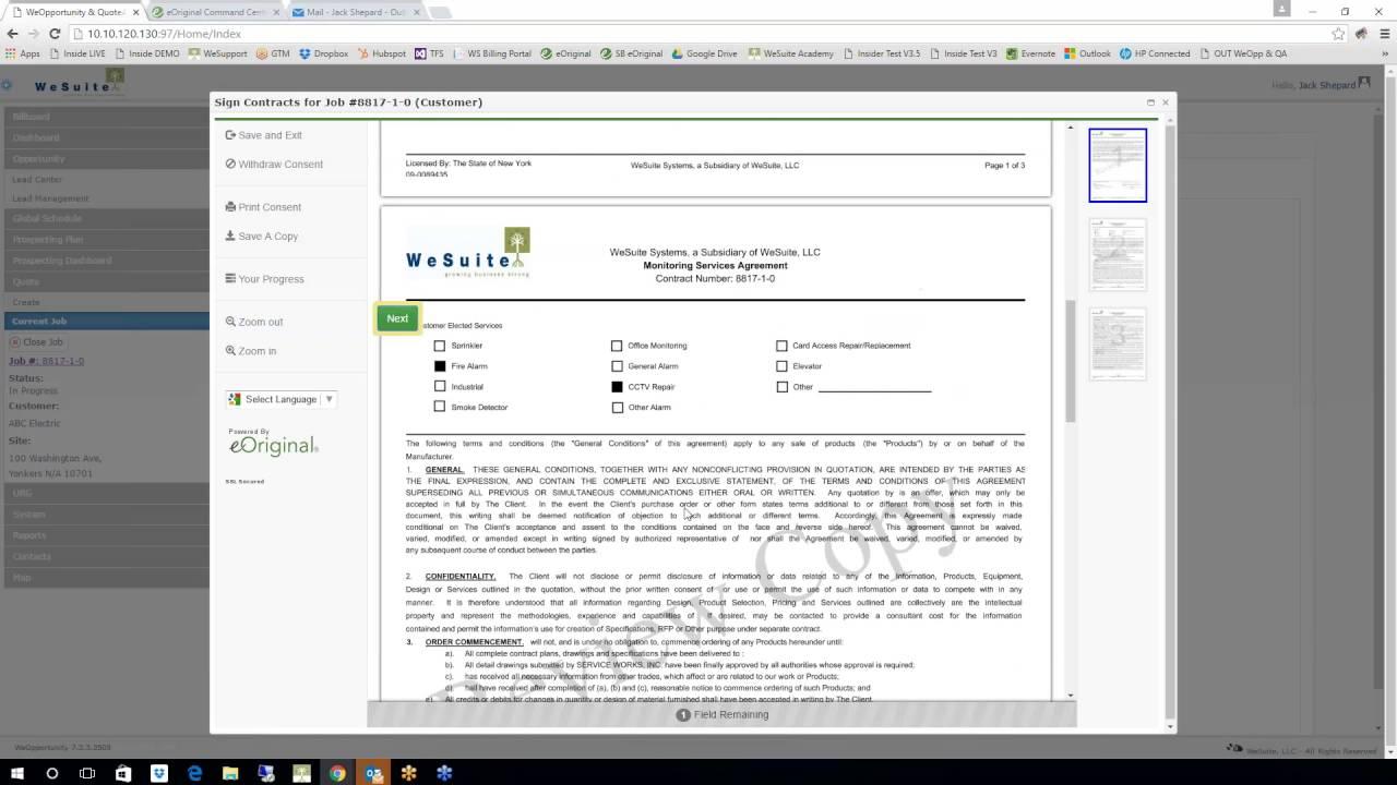 WeSuite eOriginal Integration