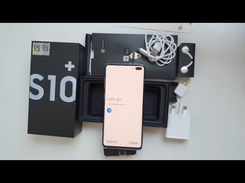 فتح علبة واستعراض محتويات صندوق جالاكسي اس ١٠ بلس Galaxy S10+ plus