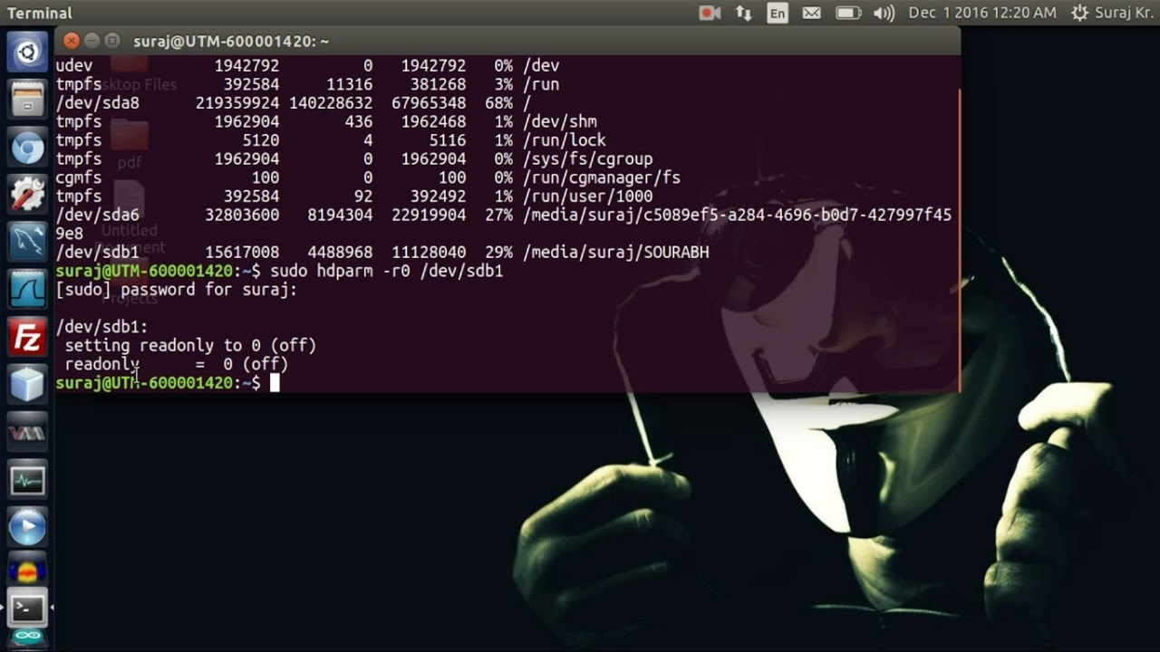 How To Remove Write Protection From USB Flash Drive In Ubuntu Linux