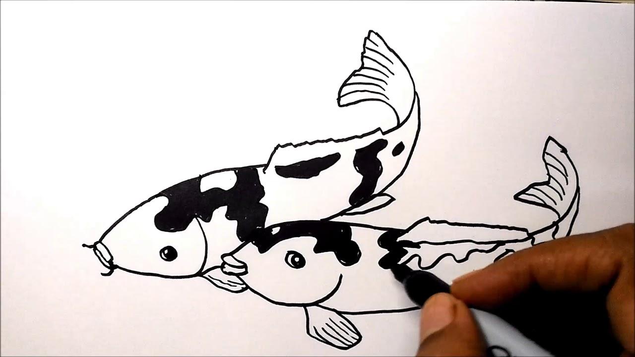 Cara Mudah Menggambar Sepasang Ikan Koi - YouTube