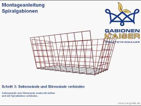 spiral gabionen montage gabionen kaiser youtube. Black Bedroom Furniture Sets. Home Design Ideas