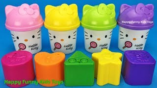 Learn Colors & Shapes with Play Dough Hello Kitty Fun & Creative for Kids Blind Bag Surprise Toys